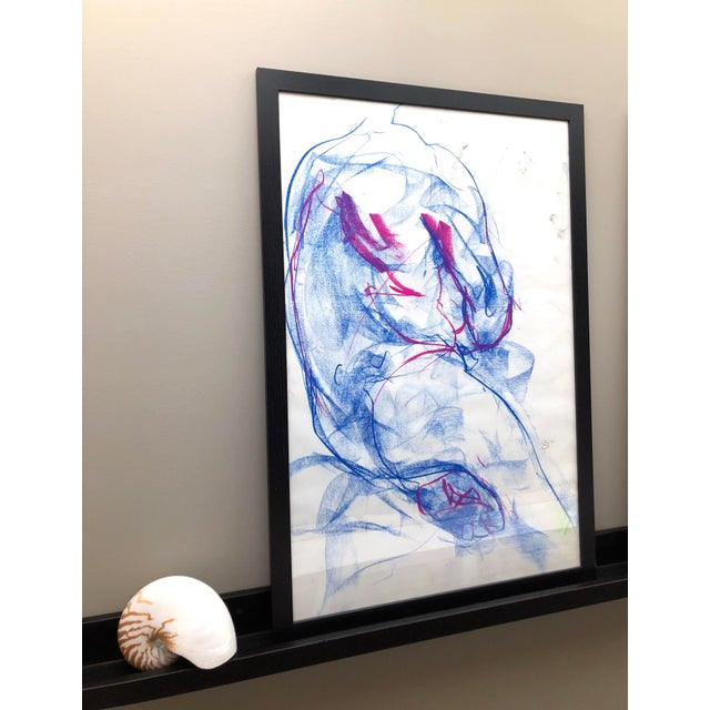 """Contemporary Contemporary Figure Drawing in Blue and Violet Pastel, """"Seated Figure in Blue and Violet"""" by Artist David O. Smith For Sale - Image 3 of 12"""