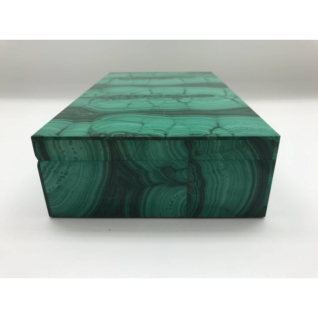 Very Large Malachite Box with Hinged Lid For Sale - Image 9 of 10