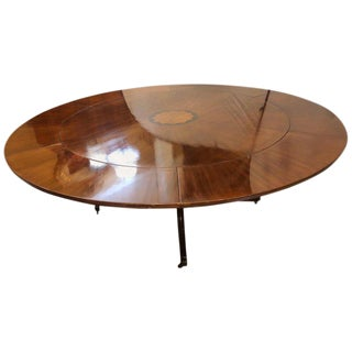 John Stuart Style Circular Inlaid Expandable Dining or Center Table For Sale