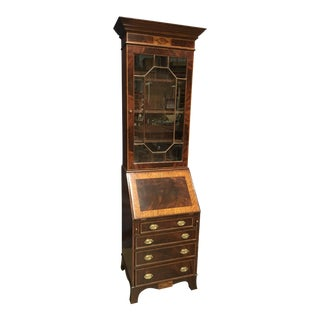 Traditional Leighton Hall Bookcase Secretary Desk For Sale
