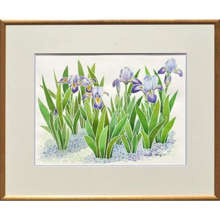 David Wang Purple Irises Watercolor Flowers by David Wang Circa 1990 For Sale