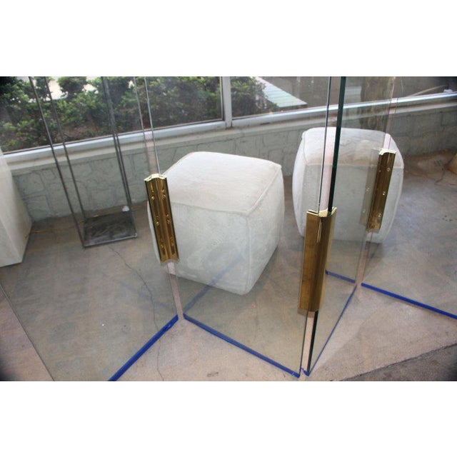 Five-Panel Glass and Brass Hinge Room Divider For Sale In Palm Springs - Image 6 of 13