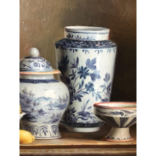 1960s Realistic Blue and White Chinese Export Still Life Painting For Sale - Image 5 of 11