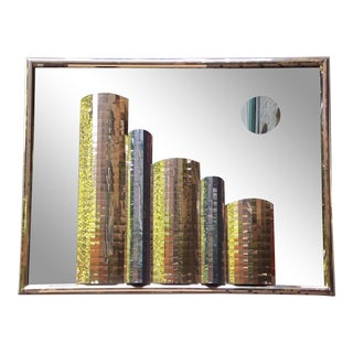 1980s Cityscape Mirrored Wall Sculpture For Sale