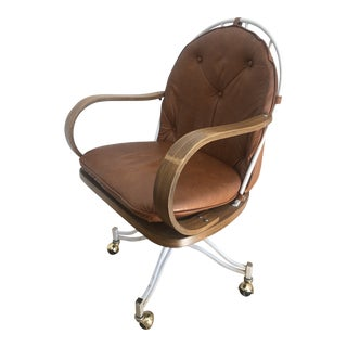 Mid Century Modern Steelcase Leather Swivel Wheeled Desk Chair For Sale