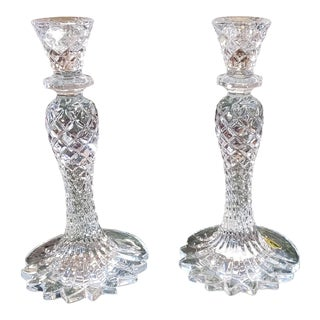 "Pair Never Used Lead Crystal Waterford Sea Jewel 10"" Candlesticks For Sale"