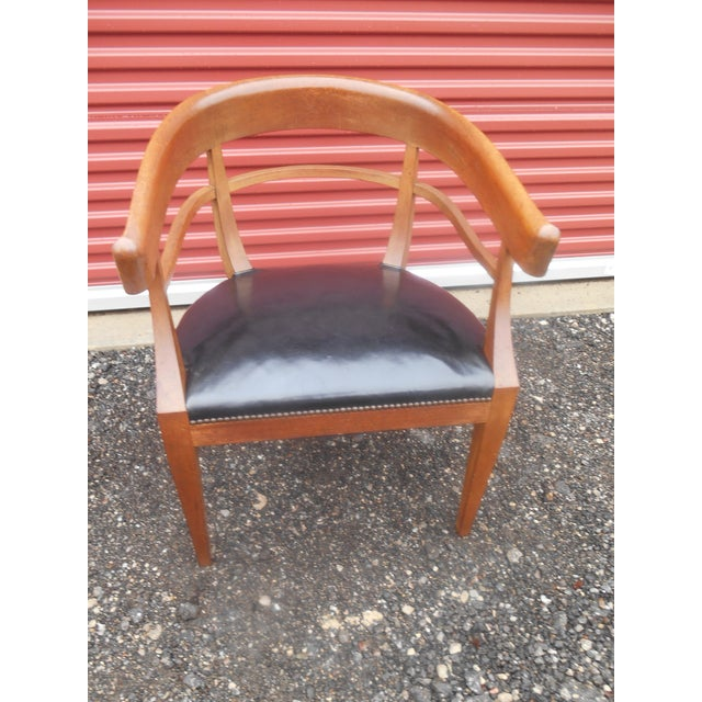 Metal Mid-Century Baker Furniture Studded Leather Asian Side Chair For Sale - Image 7 of 7