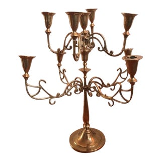 Two Tier Nine Candle Brass Candelabra