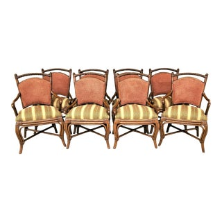 High End Palecek Faux Bamboo Bentwood Rattan Dining Chairs - Set of 8 For Sale