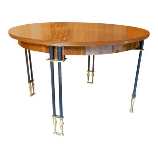 Jules Leleu Documented, 1950s, Design Round Extendable Dining Table For Sale