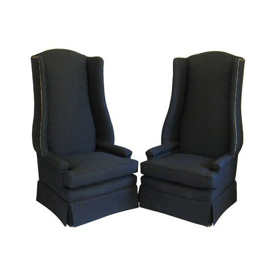 Monumental Upholstered Wing Back Chairs- A Pair For Sale - Image 4 of 4