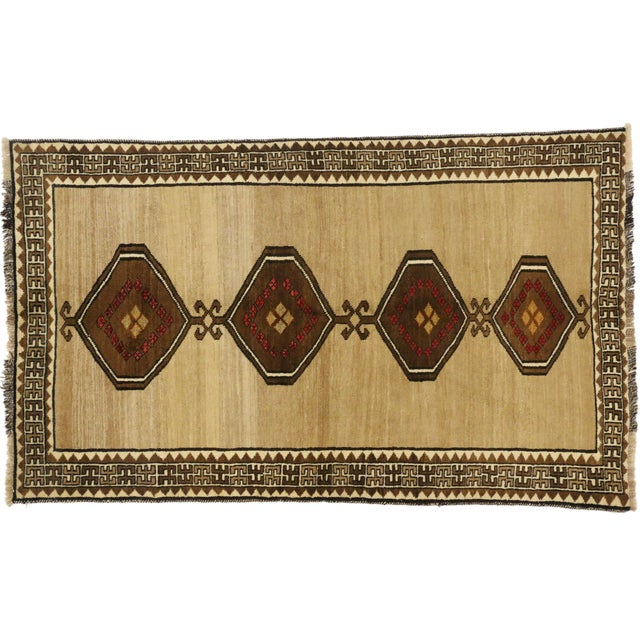 1980s Vintage Persian Shiraz Accent Rug With Modern Tribal Style - 04'03 X 07'01 For Sale - Image 5 of 5