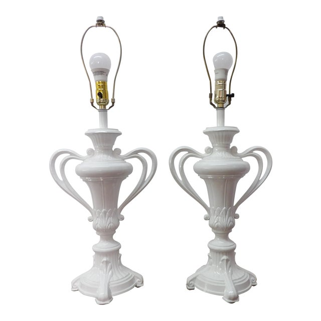 1980s Vintage Handled Metal Urn Lamps in New White Lacquer - a Pair For Sale