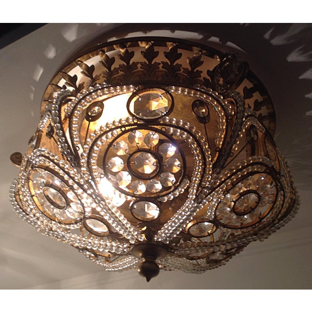 Ornate Gilt Metal &gol Crystal Ceiling Light - Image 2 of 7