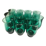 Image of Vintage Green Libbey Co. Glasses - Set of 11 For Sale