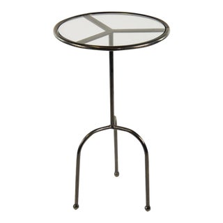 Rocker Pedestal Steel & Glass Industrial Occasional Table
