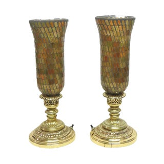 Vintage Hurricane Lamps With Opalescent Colored Glass Shades - a Pair For Sale