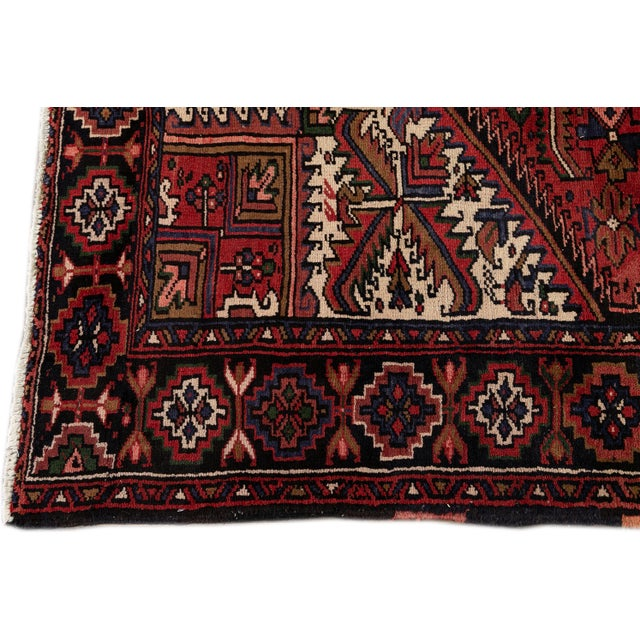 "1940s Vintage Persian Heriz Handmade Wool Rug, 7'9"" X 10'3"" For Sale - Image 5 of 10"