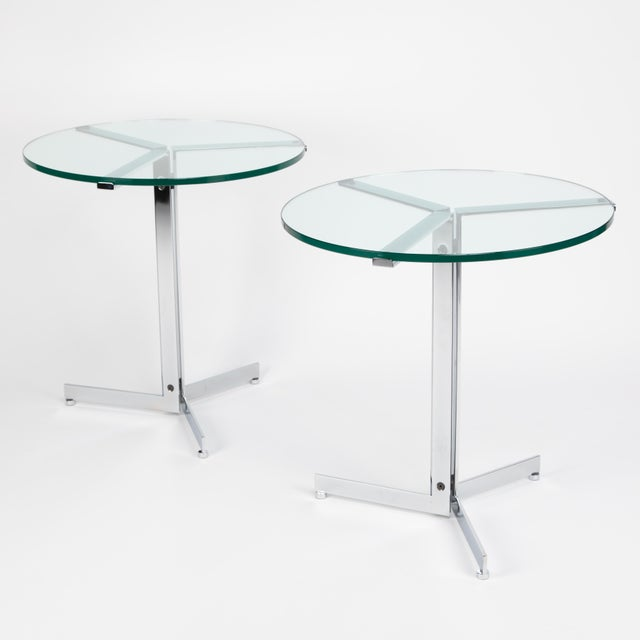 "Immaculate pair of ""Alpha"" side tables with chrome frames and glass tops, designed by Swiss architect Hans Eichenberger..."