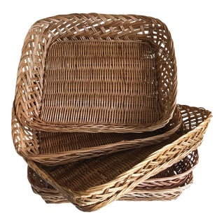 Woven Wood Serving Baskets - Set of Five