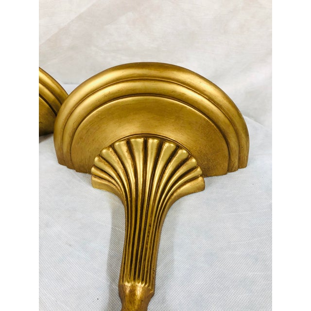 Mid 20th Century Mid Century English Gilded Wall Brackets - a Pair For Sale - Image 5 of 11