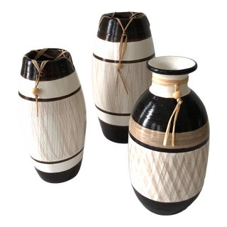 Group of Brazilian Vases With Raffia and Bone Bead Detail For Sale