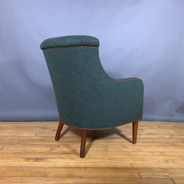 Danish 1950s Armchair, Kvadrat Felted Wool & Leather For Sale - Image 4 of 10