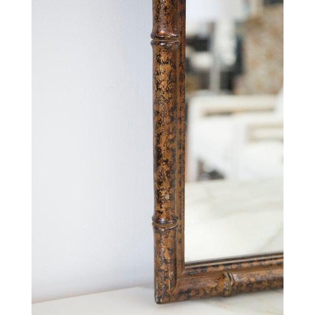 Mid-Century Modern Bamboo Form Frame Tortoiseshell Mirror For Sale - Image 3 of 5