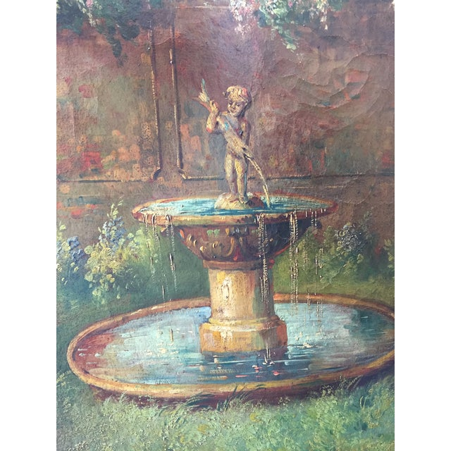 6 Ft Antique Painted Leather Screen W/ Pastural Scene - Image 7 of 10