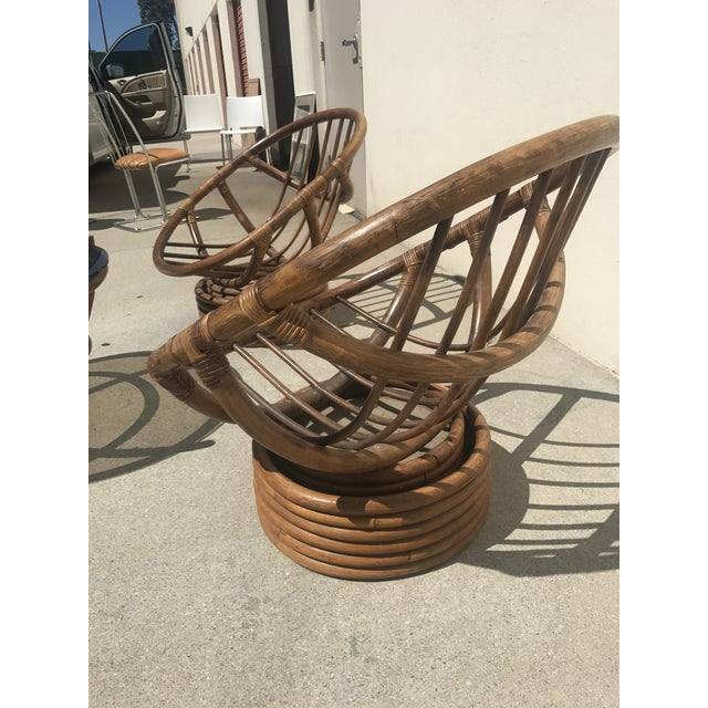 Vintage 60s Rattan Papasan Swivel Rocking Chairs & Table ...