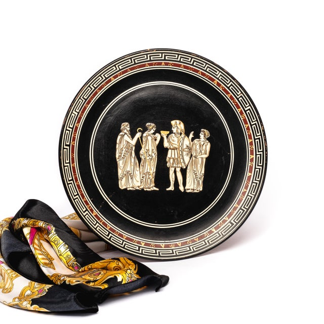 """Handsome vintage ceramic plate signed stamped """"Made in Sonika, Greece"""", raised images of ancient Greek characters, Greek..."""