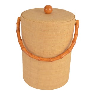 Mid Century Rattan Ice Bucket with a Faux Bamboo Handle For Sale