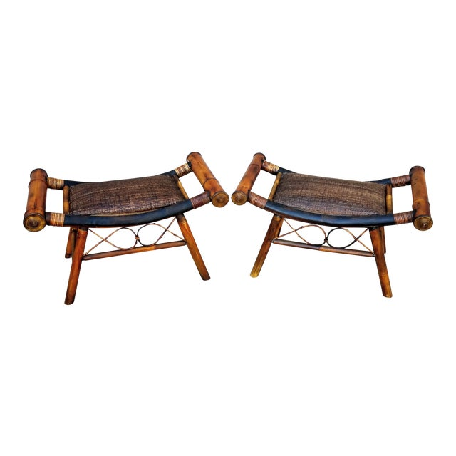 1960s Boho Chic Bamboo and Rattan Foot Stools - a Pair For Sale