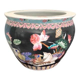 Large Black Ceramic Chinoiserie Planter For Sale