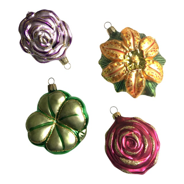 Vintage Floral and Shamrock Shaped Glass Christmas Tree Ornaments - Set of 4 For Sale