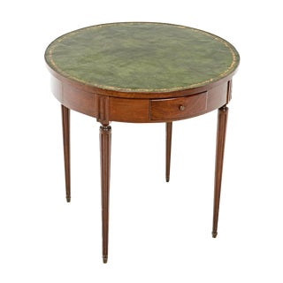 Bouillotte Mahogany Round Leather Topped Table