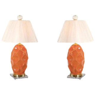 Dazzling Pair of Large-Scale Faceted Ceramic Lamps in Russet Orange For Sale