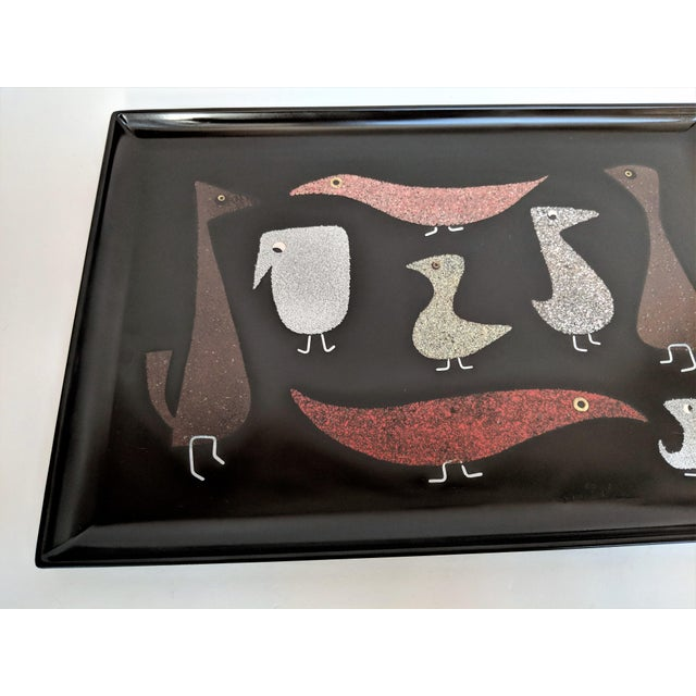 """Plastic Couroc of Monterey """"Mod Birds"""" Serving Tray For Sale - Image 7 of 11"""