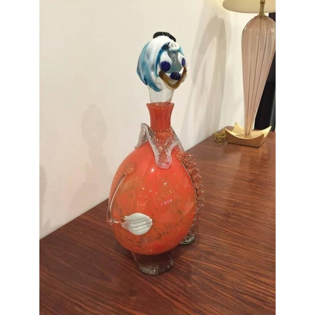"""Italian Hand Blown """"Murano"""" Glass Clown Decanter with Stopper For Sale - Image 4 of 7"""