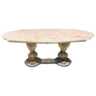 Palatial Italian Carved and Painted Base Marble Top Center or Dining Table For Sale