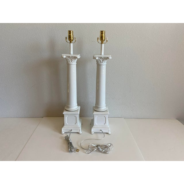 1950s Italian Porcelain Column Lamps - a Pair For Sale - Image 10 of 10