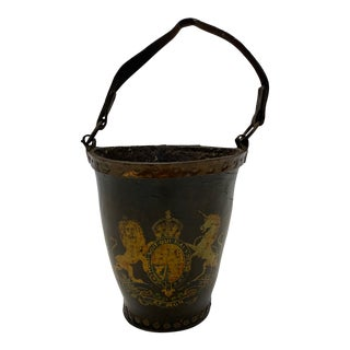 Early English Hand Painted Leather Fire Bucket For Sale