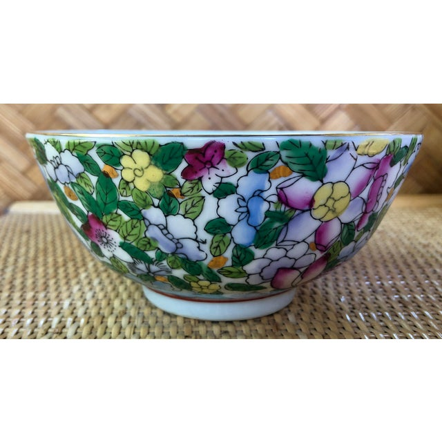 Hand Painted Pink Blue and Green Chinoiserie Floral Porcelain Bowl For Sale - Image 4 of 8