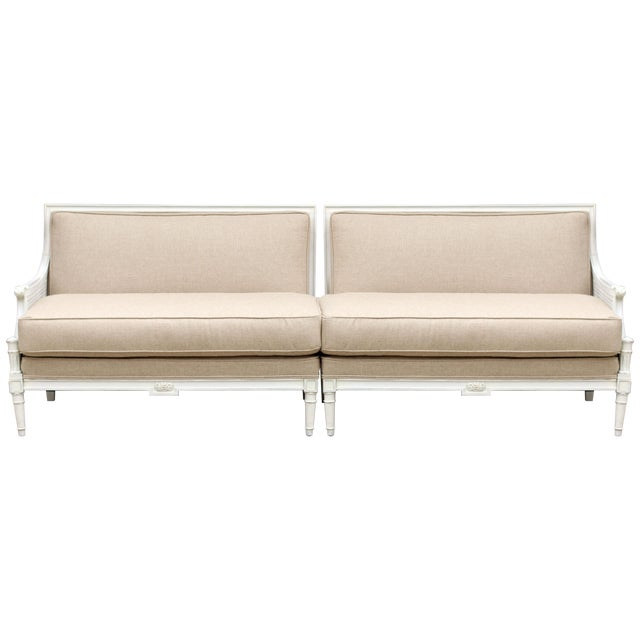 French Two-Piece Linen Sofa - Image 1 of 10