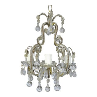 French Crystal Beaded Chandelier With Clear Drops, Circa 1930s For Sale