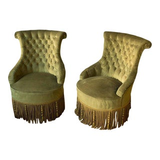 Pair of French Tufted Armchairs and Matching Ottoman For Sale