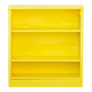 1960s Steel Tanker Style Bookcase in Yellow, Custom Refinished to Order For Sale