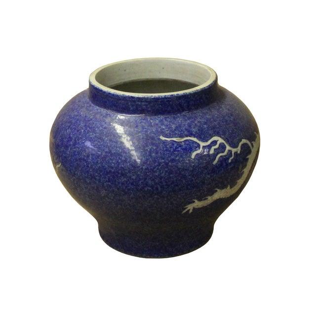 Asian Handmade Ceramic Blue White Dimensional Dragon Pattern Vase Jar For Sale - Image 3 of 8