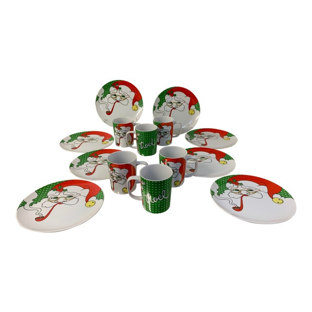1974 Fitz and Floyd Variations Smoking Santa Dessert Set - Set of 14 For Sale
