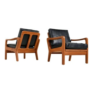 1960s Juul Kristensen Convertible Danish Solid Teak Black Leather Lounge Chairs